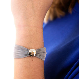 Circle Faceted Disc Stainless Steel Mesh Bracelet